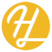 Hatfield Media Logo.  Cursive H in a yellow circle.